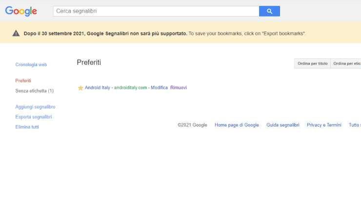 Banner Google segnalibri chiude (Google)